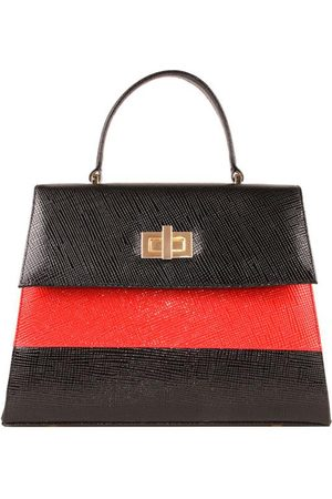 Luxe Designers Flo & Sue Agrippina Black with Red Stripe Top Handle Kelly Bag