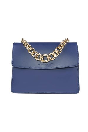 Luxe Designers Stefano Turco Gold Chain Handle Blue Leather Handbag