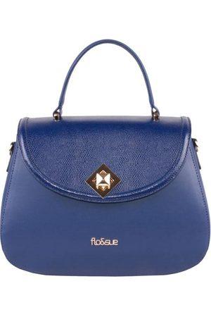 Luxe Designers Flo & Sue Flavia Blue Calfskin Leather Top Handle Bag