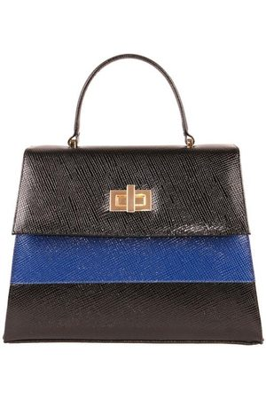 Luxe Designers Women Purses & Wallets - Flo & Sue Agrippina Black with Navy Stripe Top Handle Kelly Bag