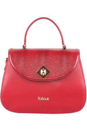 Luxe Designers Flo & Sue Flavia Red Calfskin Leather Top Handle Bag
