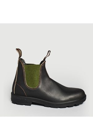 Blundstone Leather Boots with green elastic - dark