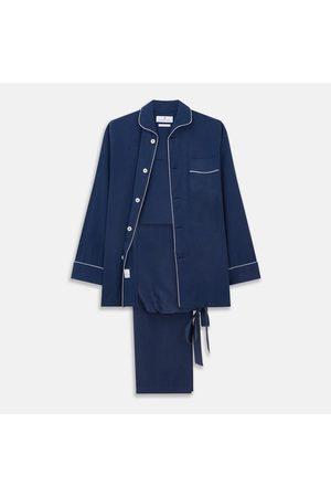 Turnbull & Asser Men Pyjamas - Navy Piped Silk Pyjama Set