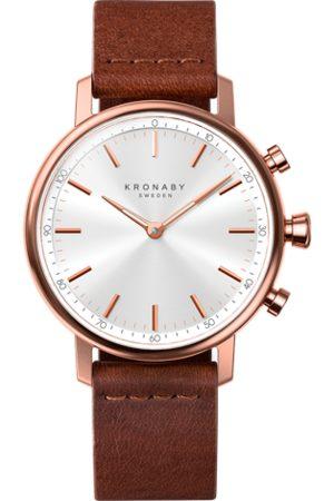 Kronaby Men Watches - Carat 38mm Hybrid Smartwatch - Silver, Brown Leather