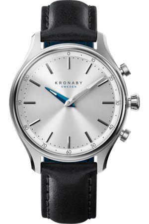 Kronaby Sekel 38mm Hybrid Smartwatch - Silver, Black Leather