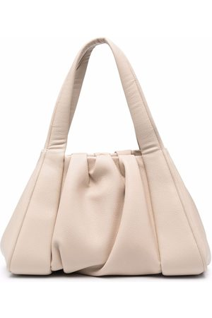 THEMOIRÈ Ruched faux leather tote bag - Neutrals