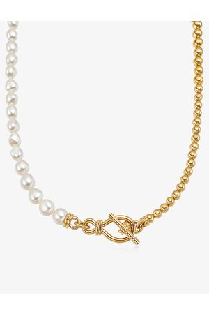 Missoma 18ct yellow gold-plated brass and freshwater pearl necklace