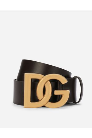 Dolce & Gabbana Collection - Lux leather belt with crossover DG logo buckle male 80