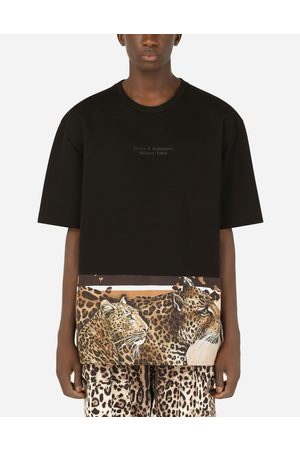 Dolce & Gabbana Men Short Sleeve - T-Shirts and Polos - Leopard-print cotton T-shirt with patch male 48