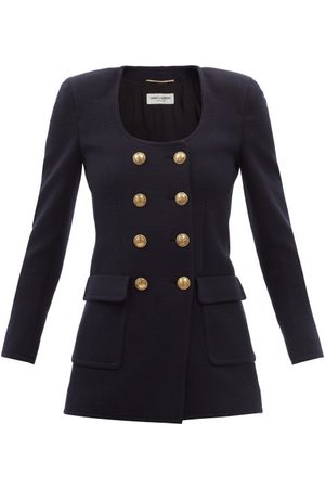 Saint Laurent Double-breasted Wool-blend Jersey Jacket - Womens - Navy