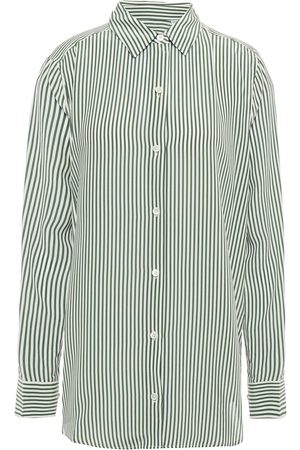 Equipment Woman Striped Washed-silk Shirt Size L