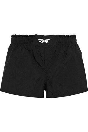 Reebok Woman Snap-detailed Printed Crinkled-shell Shorts Size L