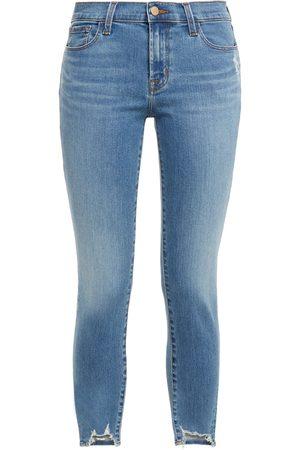 J Brand Woman Distressed Mid-rise Skinny Jeans Mid Denim Size 23