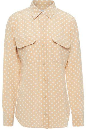 Equipment Woman Polka-dot Washed-silk Shirt Size L