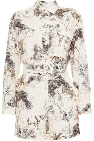 Sandro Woman Jaine Belted Printed Woven Playsuit Ecru Size 34