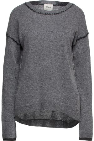 Charli Woman Amber Topstitched Cashmere Sweater Anthracite Size L