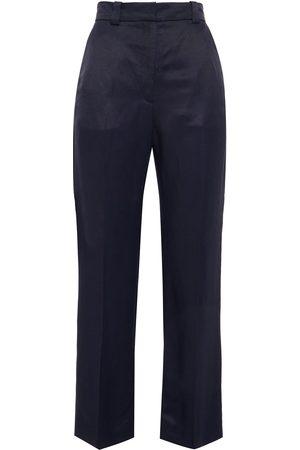 Sandro Woman Made Satin-twill Kick-flare Pants Navy Size 34