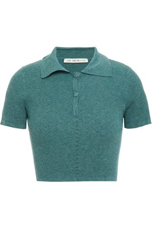 LIVE THE PROCESS Woman Cropped Ribbed-knit Polo Shirt Emerald Size L