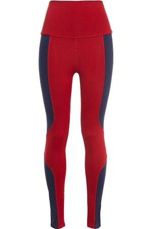LIVE THE PROCESS Woman Geometric Two-tone Stretch-supplex Leggings Crimson Size L