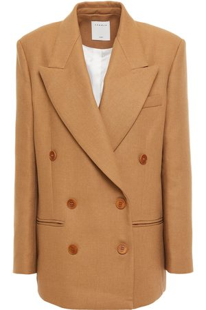Sandro Woman Toby Double-breasted Twill Blazer Camel Size 34