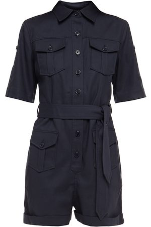 Equipment Woman Belted Cotton-blend Twill Playsuit Midnight Size 10