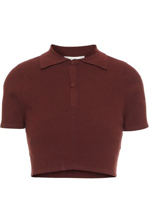 LIVE THE PROCESS Woman Cropped Ribbed-knit Polo Shirt Merlot Size L