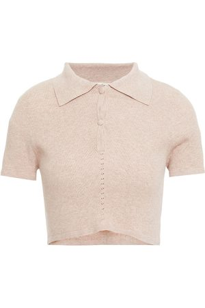 LIVE THE PROCESS Woman Cropped Ribbed-knit Polo Shirt Sand Size L
