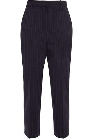 THEORY Woman Cropped Striped Wool-blend Slim-leg Pants Navy Size 0