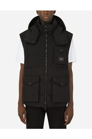Dolce & Gabbana Coats and Jackets - Quilted gilet with hood and branded plate male 48