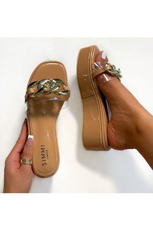 simmi.com Women Sandals - Soda Clear Nude Patent Chain Detail Flatform Sandals