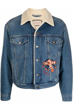 Gucci Faux-shearling collar denim jacket