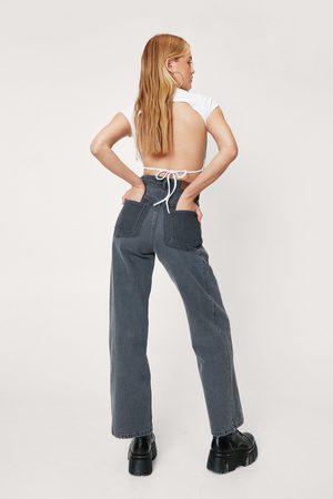 NASTY GAL Womens Two Tone High Waisted Wide Leg Jeans