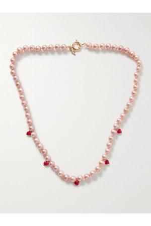 POLITE WORLDWIDE® Men Necklaces - Lover 14-Karat Gold, Enamel and Pearl Necklace