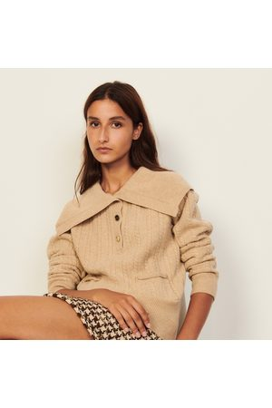 Jumpers - Open-collar wool sweater
