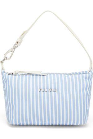 Miu Miu Striped-woven Canvas Shoulder Bag - Womens - Stripe