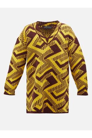 Prada Oversized Geometric-jacquard Virgin Wool Sweater - Mens