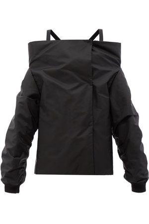 Prada Off-the-shoulder Re-nylon Gabardine Coat - Womens