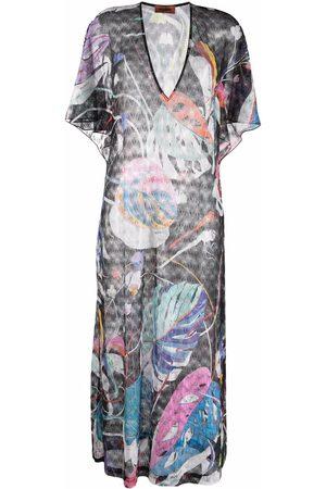 Missoni Leaf-pattern beach dress