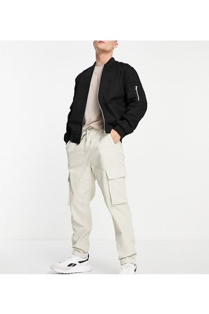 New Look Men Trousers - Cord cargos with elastic waist in stone-Neutral