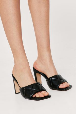 Nasty Gal Womens Pu Quilted Heel Mules