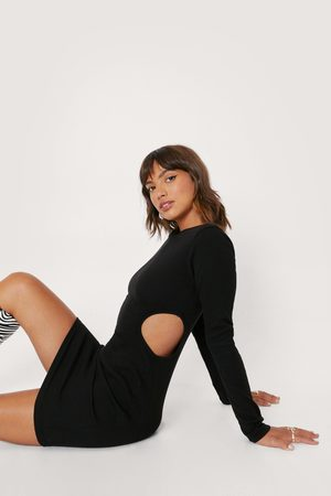 NASTY GAL Womens Ribbed Cut Out Bodycon Mini Dress