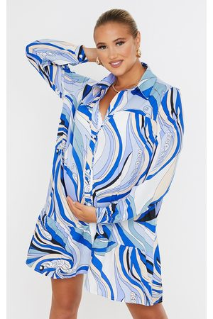 PRETTYLITTLETHING Maternity Multi Oversized Long Sleeve Smock Dress