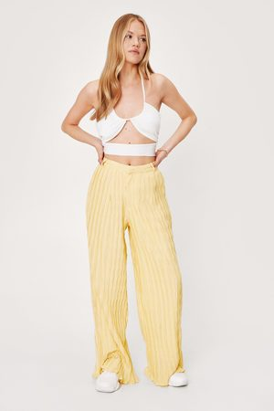 NASTY GAL Womens Plisse High Waisted Wide Leg Trousers