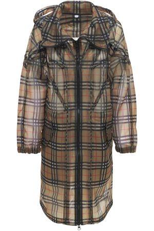 Burberry Cowbit Nylon Check Hooded Parka Coat