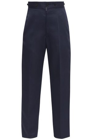 Maison Margiela Piped High-rise Twill Tailored Trousers - Womens - Navy