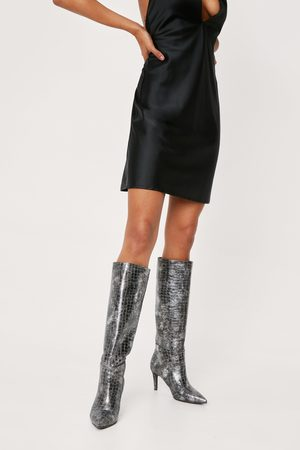 NASTY GAL Women High Leg Boots - Womens Faux Leather Croc Knee High Boots