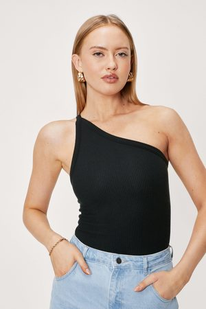 NASTY GAL Womens Ribbed One Shoulder Thin Strap Bodysuit