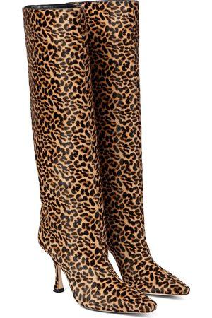 Jimmy Choo Chad 90 leopard-print calf hair knee-high boots