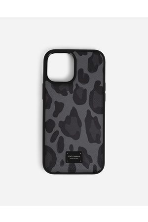 Dolce & Gabbana Men Phones - Collection - Dauphine calfskin iPhone 12 Pro Max cover with leopard print against a gray background male OneSize