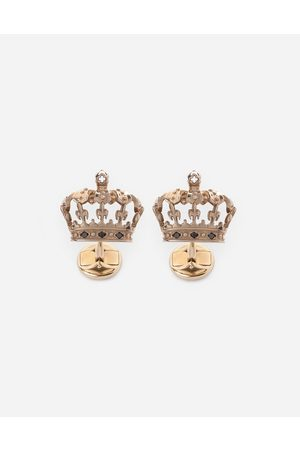 Dolce & Gabbana Collection - Crown cufflinks with black diamonds male OneSize
